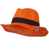 Fedora - Orange Paper Crushable Panama Hat