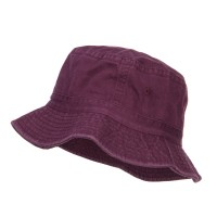 Bucket - Burgundy Khaki Cotton Bucket Hats Plaid Trim