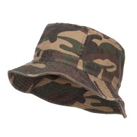 Bucket - Green Camo Cotton Bucket Hats Plaid Trim
