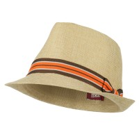 Fedora - Khaki Youth Stripe Hat B, Fedora