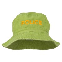Bucket - Apple Green Police Embroidered Bucket Hat