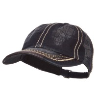 Ball Cap - Black Leather Peak Trim Stitched Cap