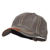 Ball Cap - Olive Leather Peak Trim Stitched Cap