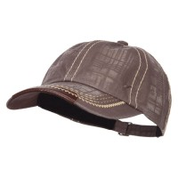 Ball Cap - Brown Leather Peak Trim Stitched Cap
