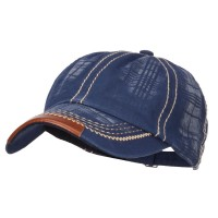 Ball Cap - Navy Leather Peak Trim Stitched Cap