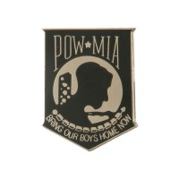 Pin , Badge - Black Silver Pow Mia Cloisonne Pins
