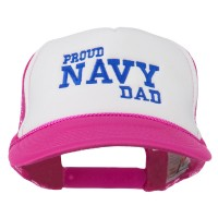Embroidered Cap - Hot Pink White Proud Navy Dad Embroidered Cap
