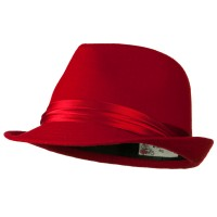 Fedora - Red Fedora with Pleated Satin Band