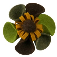 Pin, Badge - Green Yellow 6 Petal Sunflower Pin , Clip