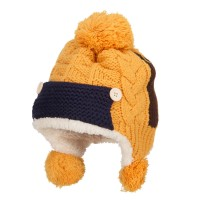 Beanie - Mustard Kid's Button Patch Ski Beanie