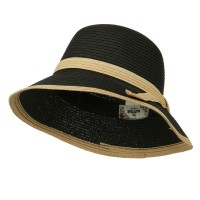 Bucket - Black Paper Straw Trimmed Hat