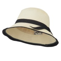 Bucket - Ivory Black Paper Straw Trimmed Hat
