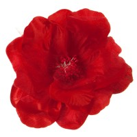 Pin , Badge - Red Q Flower Ribbon Pin