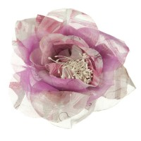 Pin , Badge - Fuchsia White Q Flower Ribbon Pin