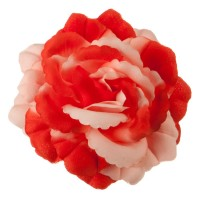 Pin , Badge - Red Pink Q Flower Ribbon Pin