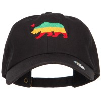 Embroidered Cap - Black Rasta Cali Bear Embroidered Cap