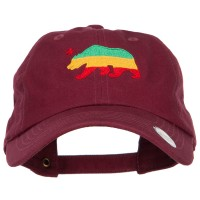 Embroidered Cap - Wine Rasta Cali Bear Embroidered Cap
