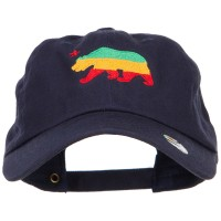 Embroidered Cap - Navy Rasta Cali Bear Embroidered Cap