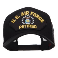 Embroidered Cap - Black Air Force Retired Patched Cap   Coupon Free   e4Hats.com