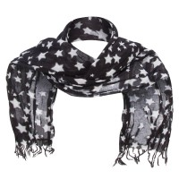 Scarf, Shawl - Black Cotton Scarf with Stars