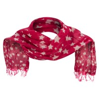 Scarf, Shawl - Fuchsia Cotton Scarf with Stars