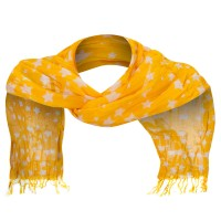 Scarf, Shawl - Mustard Cotton Scarf with Stars
