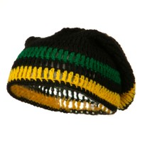 Beanie - Black Green Yellow Rasta Knitted Big Skull Beanie