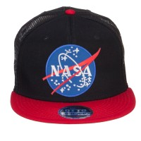 Embroidered Cap - Red Black NASA Lunar Patched Flat Bill Cap