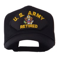 Embroidered Cap - Black Army Retired Large Patch Cap