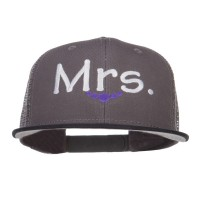 Embroidered Cap - Black Charcoal Mrs Embroidered Mesh Snapback