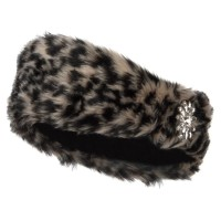 Band - Leopard Fur Headband with Flower Stone