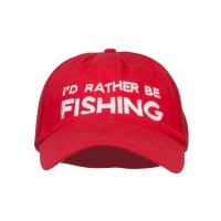 Embroidered Cap - Red I'd Rather Be Fishing Embroidered Big Mesh Cap