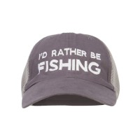 Embroidered Cap - Charcoal Grey I'd Rather Be Fishing Embroidered Big Mesh Cap