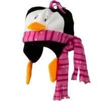 Costume - Black White Pink Scarf Penguin Birds Hat
