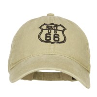 Embroidered Cap - Khaki US Route 66 Embroidered Cap