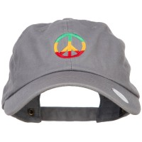 Embroidered Cap - Grey Rasta Peace Embroidered Cap