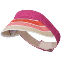 Visor - Fuchsia Colorful Striped Brim Visor