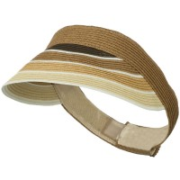 Visor - Brown Colorful Striped Brim Visor