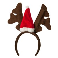 Costume - Brown Red Santa Antlers Cap Headband