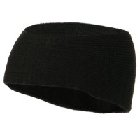 Band - Black Black Solid Color Rib Knit Earband