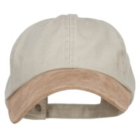 Ball Cap - Beige Tan Suede Bill Washed Dyed Cap