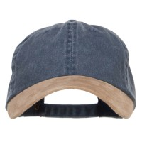 Ball Cap - Navy Tan Suede Bill Washed Dyed Cap