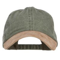 Ball Cap - Olive Tan Suede Bill Washed Dyed Cap