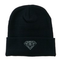 Beanie - Navy Diamond Embroidered Long Beanie | Coupon Free | e4Hats.com