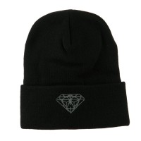 Beanie - Black Diamond Embroidered Long Beanie | Coupon Free | e4Hats.com