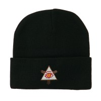 Beanie - Black All Seeing Eye Embroidered Beanie