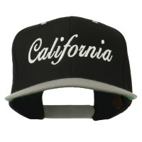 Embroidered Cap - Black Silver California Embroidered Snapback