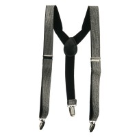 Belt , Buckle - Silver Kid's Shiny Glitter Suspenders