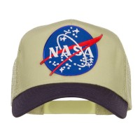 Embroidered Cap - Navy Khaki NASA Patched Two Tone Cap