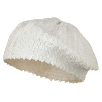 Beret - White White Sequin Knitted Beret